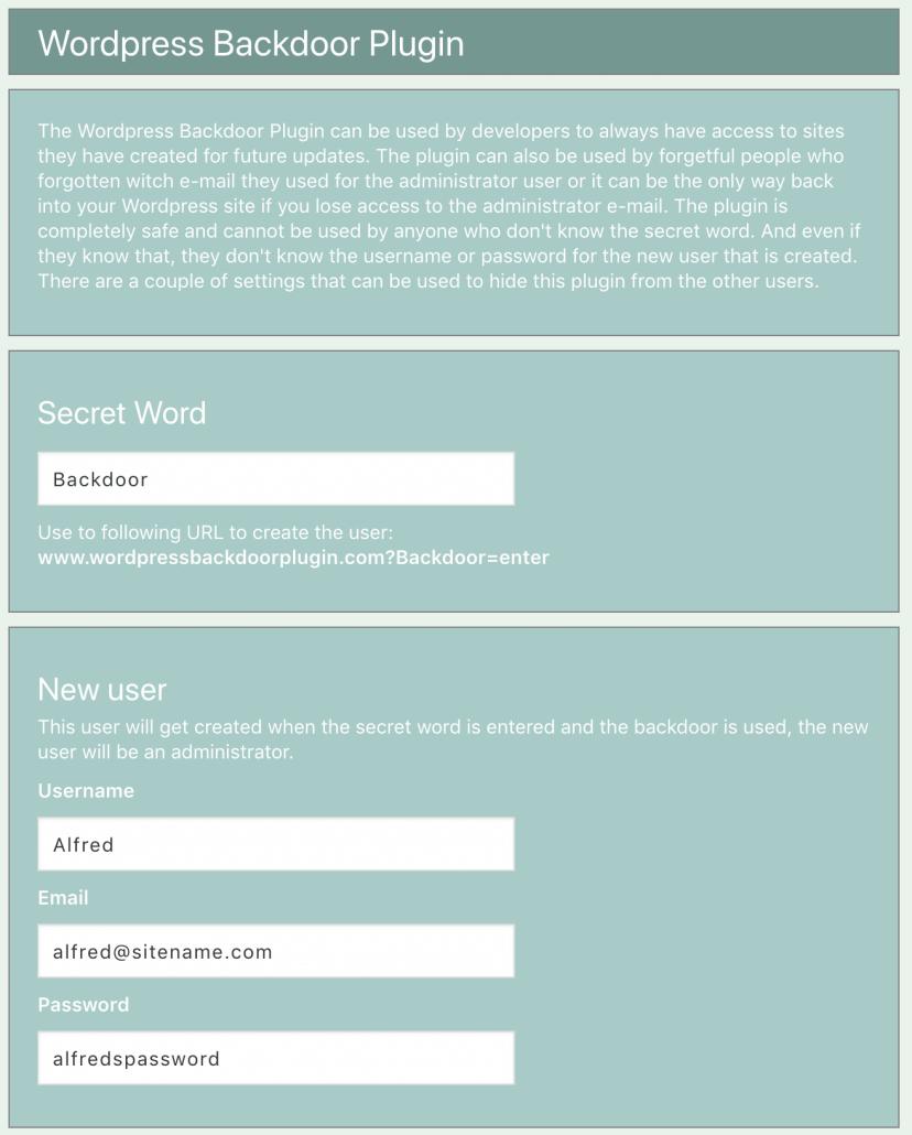 Image of the settings page in Wordpress Backdoor plugin